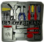 Electrician Tool Box Belt Buckle + display stand